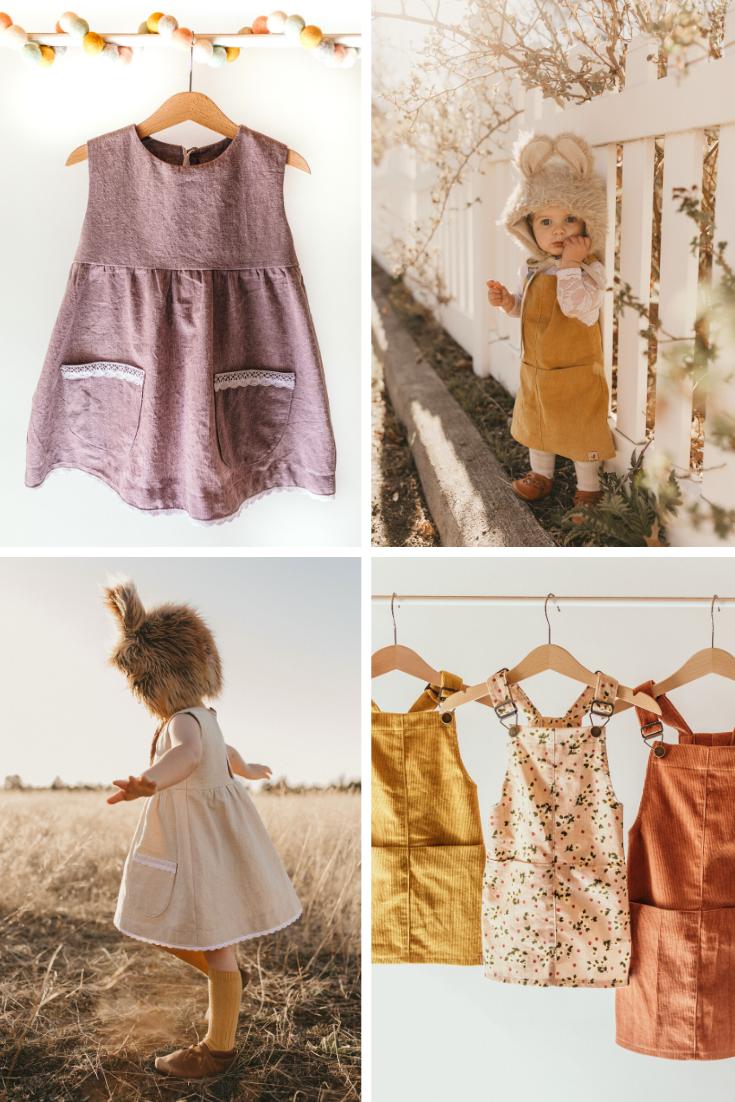 Little girl's linen dresses.