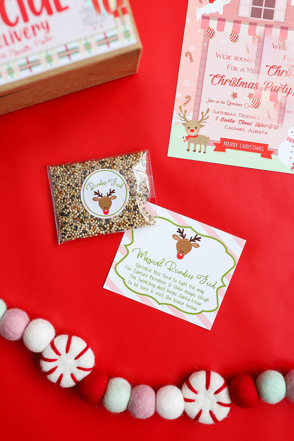 A kids christmas holiday party planned with balloons, cookie decorating, DIY decor and magical printables.