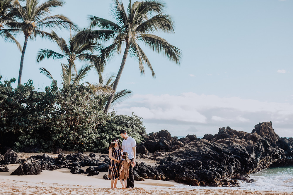 A family is standing on the beach in Hawaii