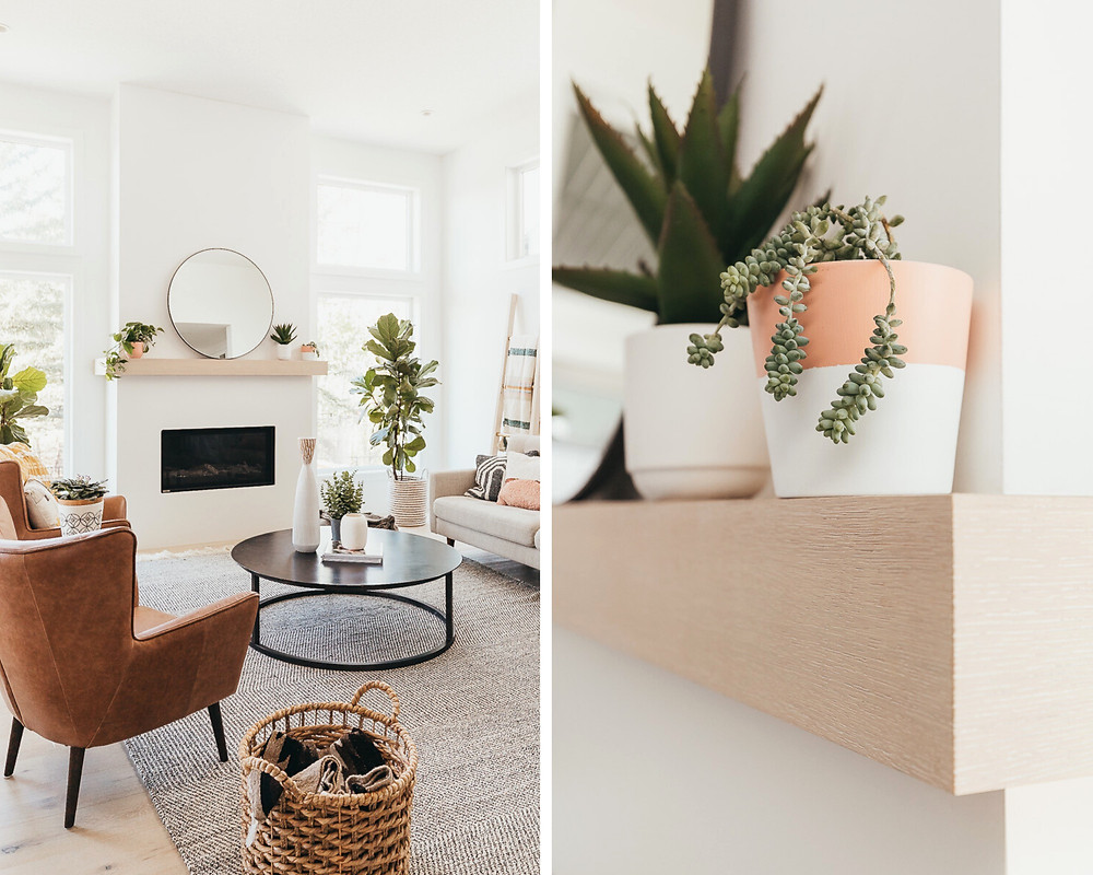 Some succulent plants sitting on top of a white oak mantel in a modern farmhouse living room.