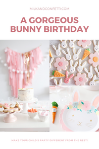 An Easter Bunny Birthday Party styled in pink, gold, white and purple.