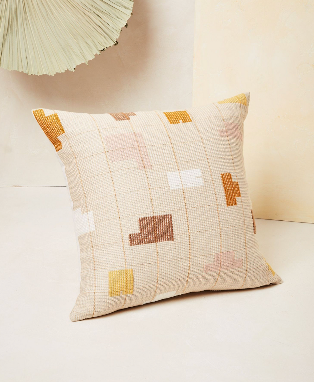 Blush, white, eggplant and gold sustainable pillow.
