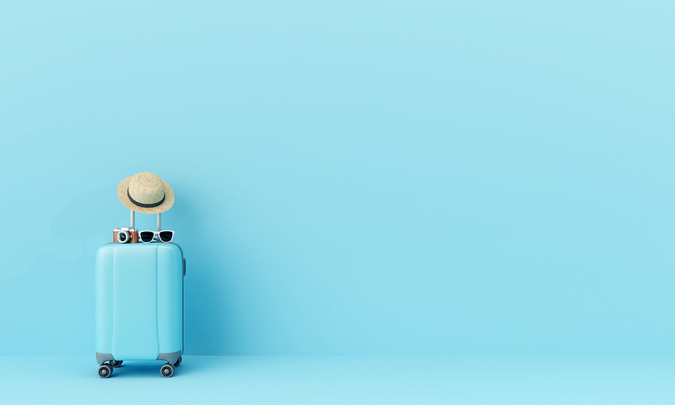 Blue suitcase with sun glasses, hat and