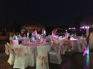 Alternative to market lighting, Down lighting tables at wedding Cocoa Beach Brett Brisbois Events