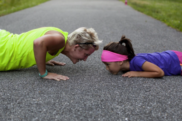 mom and daughter exercise