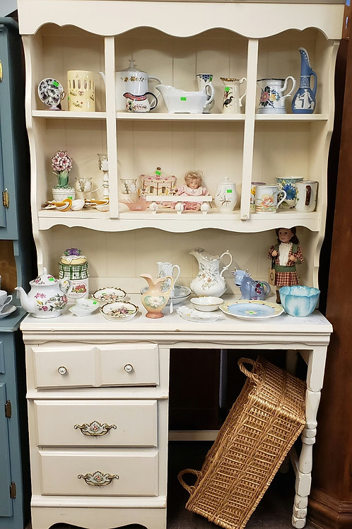 Cream colored hutch/ desk