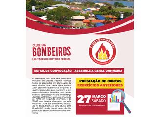 EDITAL DE CONVOCAÇÃO DA ASSEMBLEIA GERAL ORDINÁRIA DOCLUBE DOS BOMBEIROS MILITARES DO DF 🔥