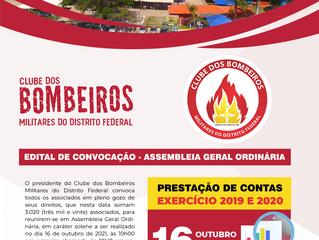 EDITAL DE CONVOCAÇÃO DA ASSEMBLEIA GERAL ORDINÁRIA DO CLUBE DOS BOMBEIROS MILITARES DO DF 🔥⠀