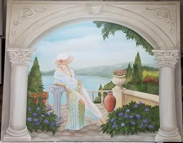 Gypsie woman in garden canvas