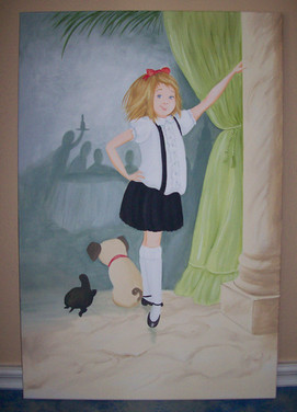 girl and dog painting on canvas