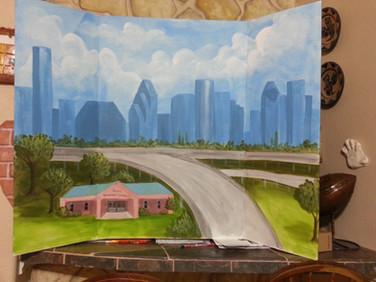 Houston skyline and freeway board