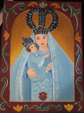 Virgin Mary and baby Jesus on wood