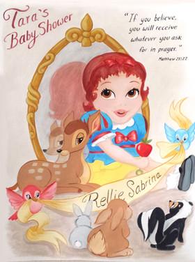 Baby Tara and animals on paper