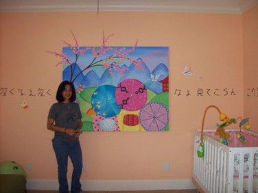 abstract Japanese ladies canvas