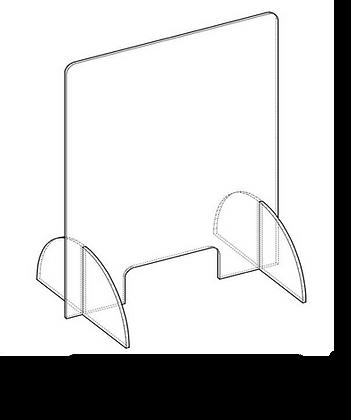 100x70 cm - Protezione Plexiglass AUTOPORTANTE con sostegni con Asola