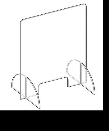 120x70 cm - Protezione Plexiglass AUTOPORTANTE con sostegni con Asola