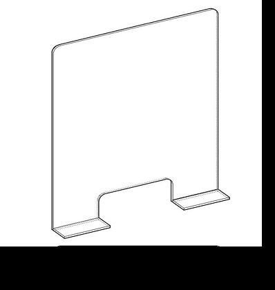 150x70 cm - Protezione Plexiglass con Alette con Asola