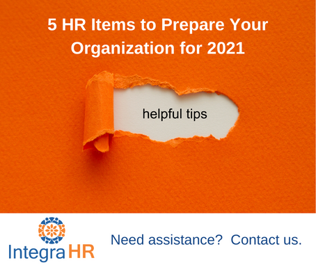 Top 5 HR Items to Prepare Your Organization for 2021