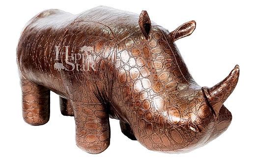 пуф носорог бронзовый кожаный