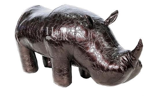 пуф носорог коричневый кожаный