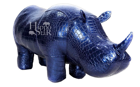 пуф носорог синий кожаный