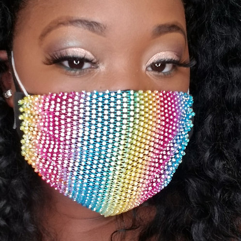 Rainbow Bling Mask Cover