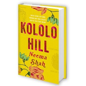 """Cover of """"Kololo Hill,"""" yellow, with tropical flowers."""