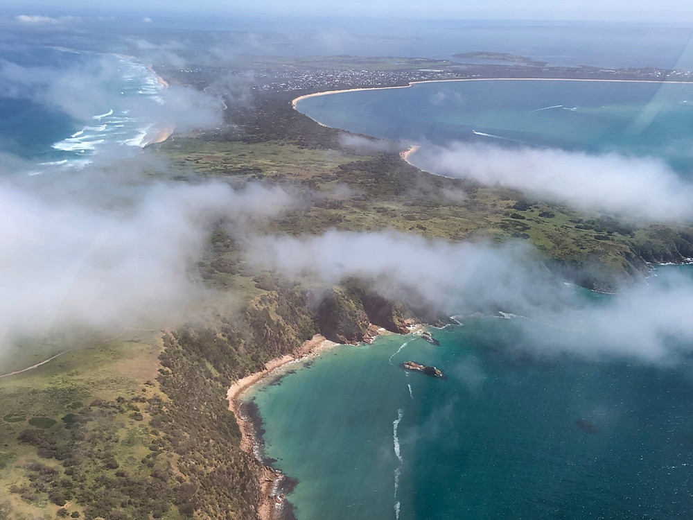 aerial photo of Phillip Island showing both coastlines
