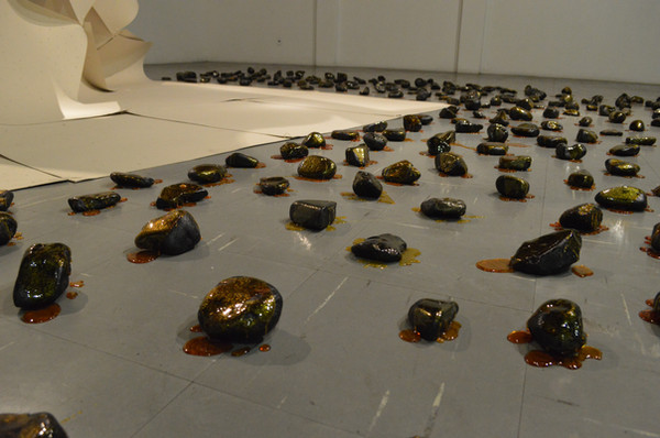 Bed (2014) - Installation - 242 stones, paper, tar, pitch and twine - Variable dimensions