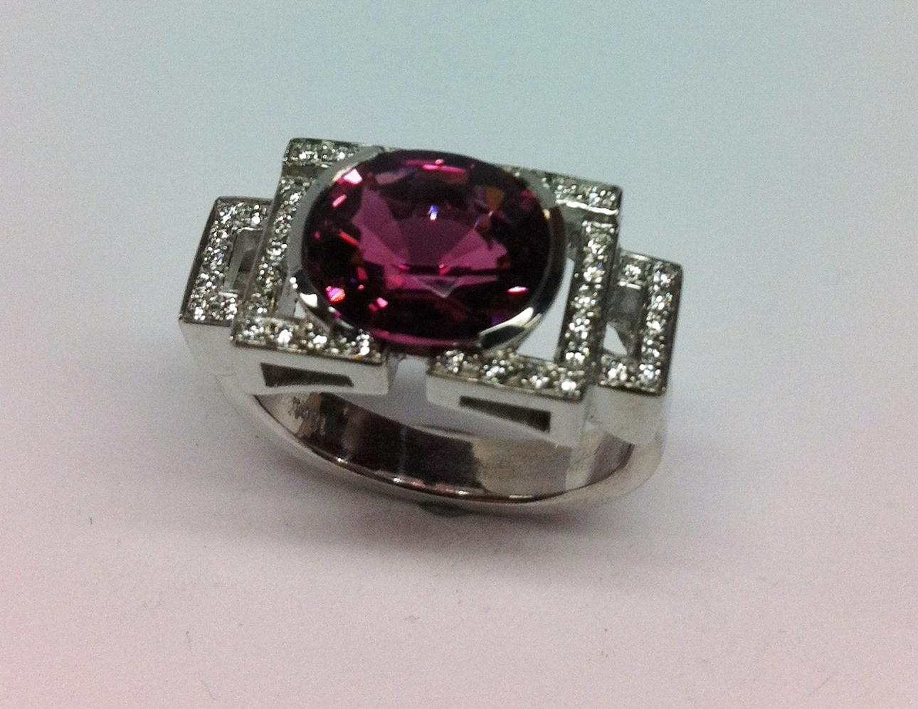 Tourmaline and Diamond Dress ring
