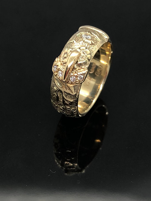 Yellow Gold, Victorian inspired, carved floral buckle ring with diamond detail