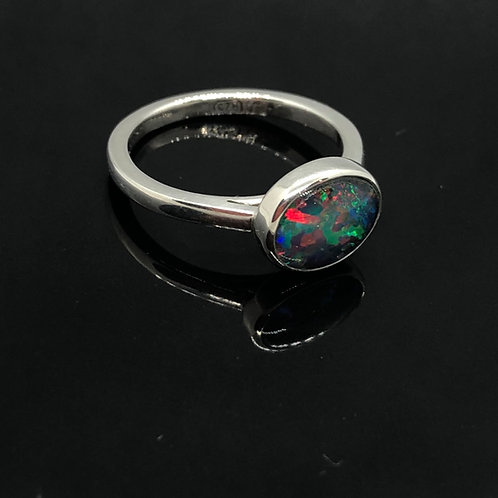 Sterling Silver Opal Triplet Bezel-Set Ring