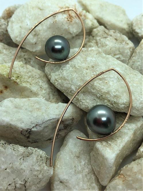 Rose Gold and Tahitian Pearl Hook Earrings