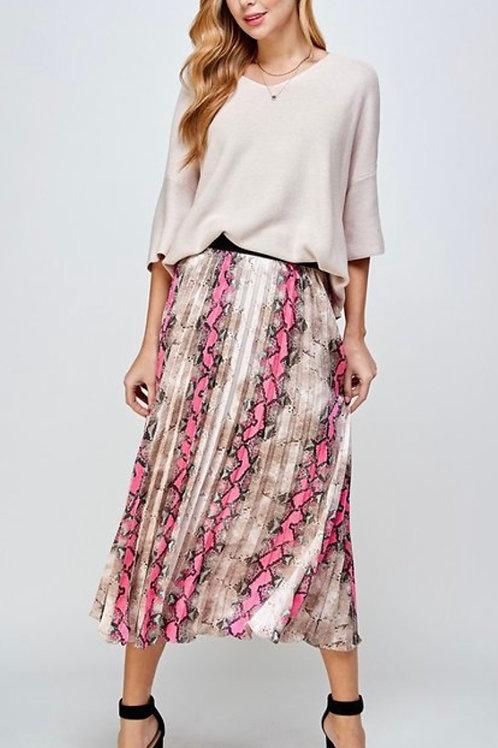 Taupe/Pink Snake Print Skirt