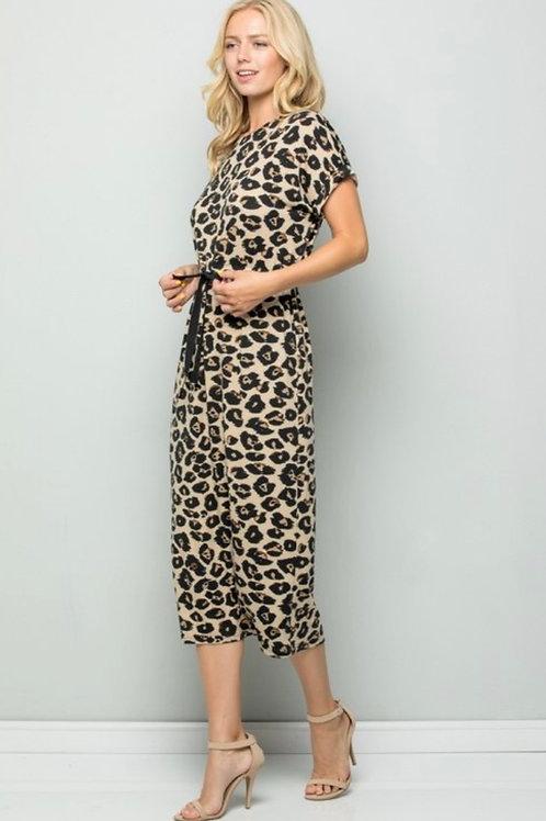 Cheetah Print Drawstring Dress