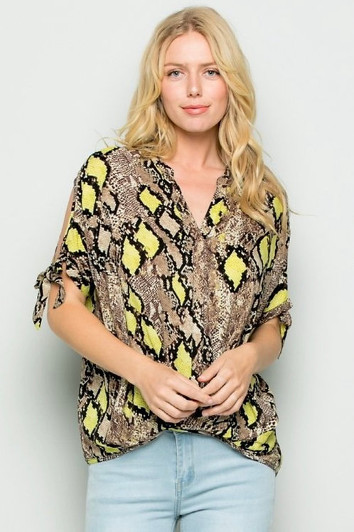 Neon/Taupe Snake Print Blouse