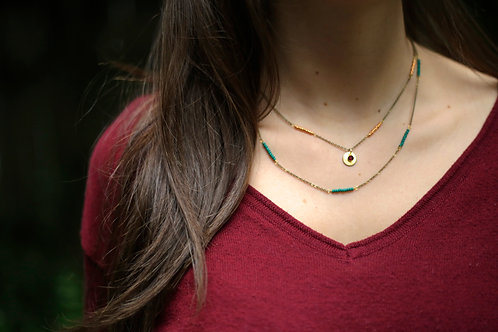 WS Namaste Necklace - Forest Green & Rose Gold