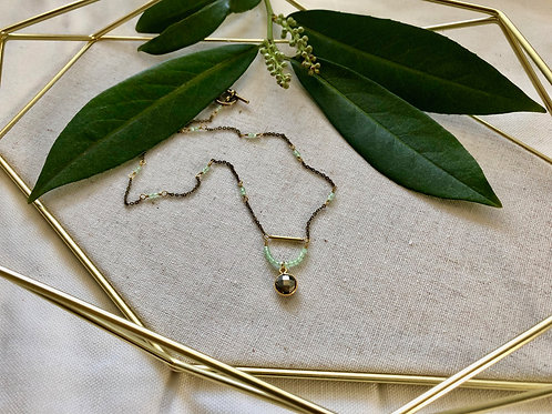 WS Crystal Ball Necklace - Pyrite & Green Chalcedony