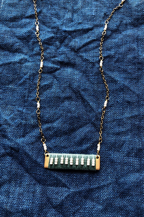 WS Abacus Necklace - Forest Green & Champagne