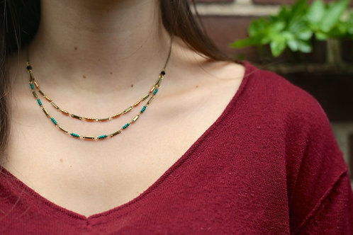 WS High Wire Necklace - Forest Green & Rose Gold