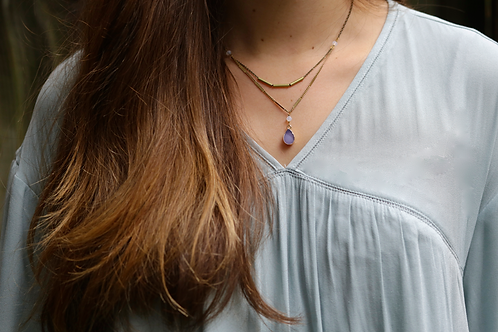 WS Gatsby Necklace - Purple & Opal White