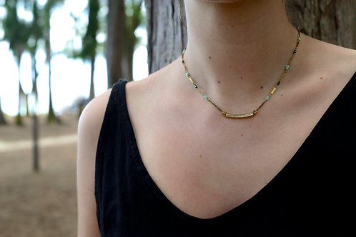 WS Bar of Gold Necklace - Amazonite & Pyrite