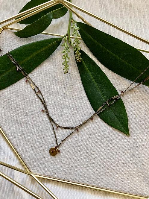 WS Discus Necklace - Rhodolite