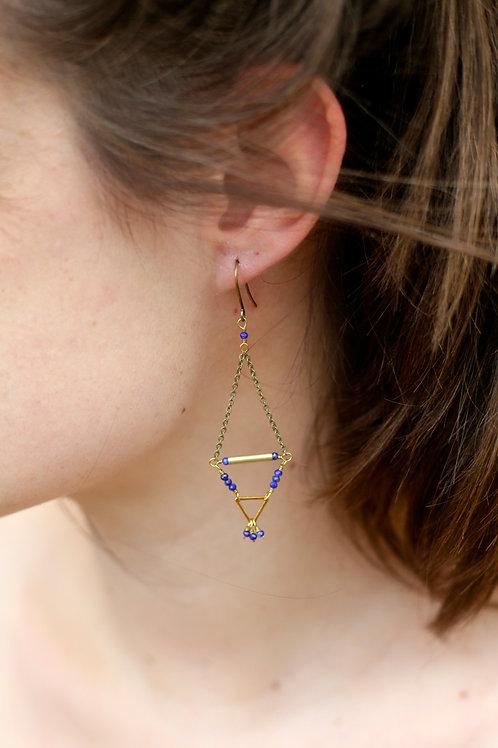 WS Tridangle Earrings - Lapis