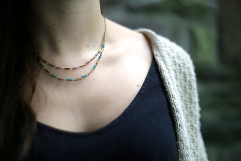 WS High Wire Necklace - Teal & Lavender