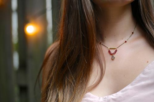 WS Crystal Ball Necklace -  Labradorite & Garnet
