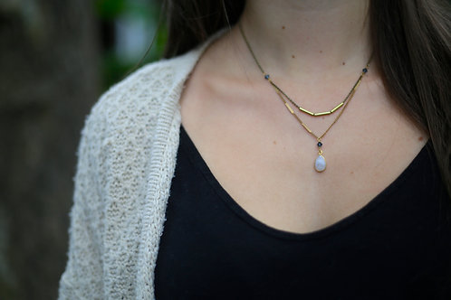 WS Gatsby Necklace - Moonstone & Indigo Crystal