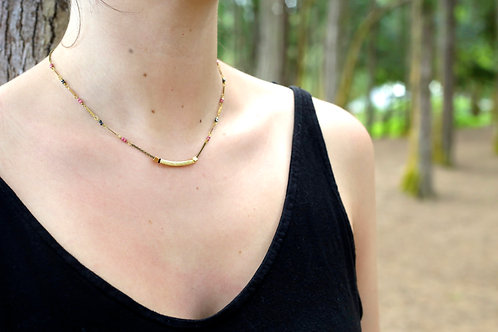 WS Bar of Gold Necklace - Rhodochrosite & Pyrite