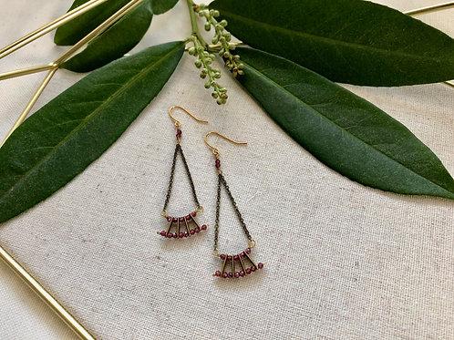 WS Mini Fan Earrings - Rhodolite