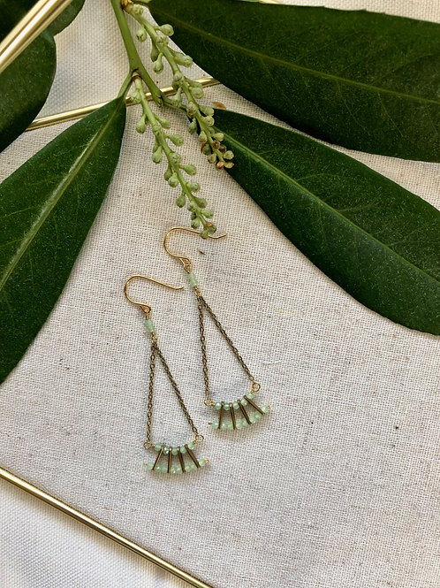 WS Mini Fan Earrings - Green Chalcedony